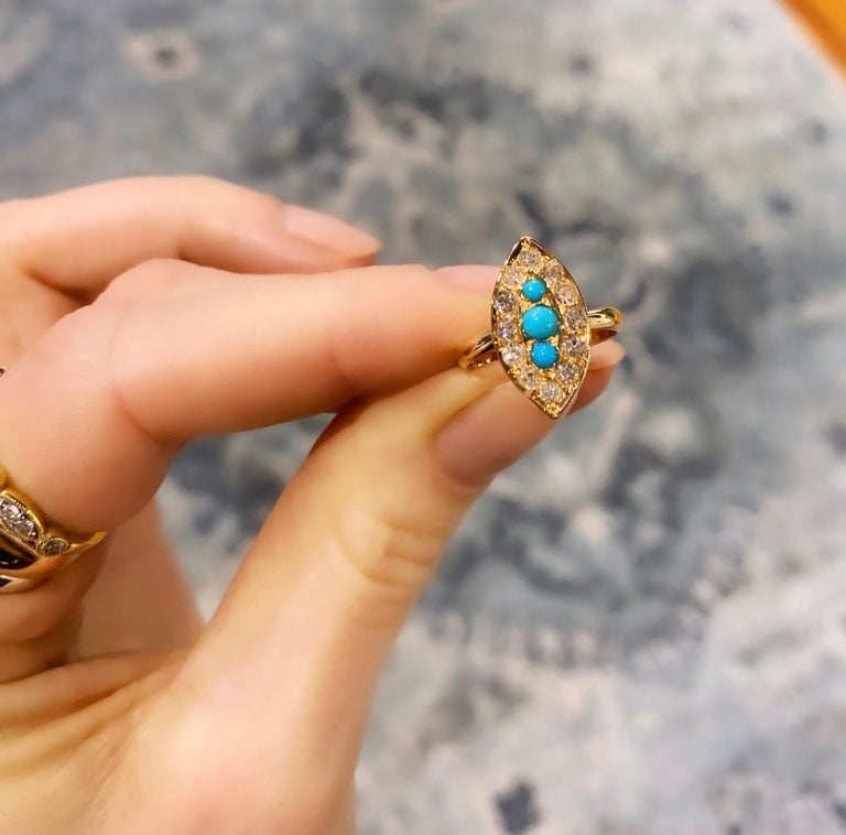 Rose Cut Navette Turquoise Diamond Marquise Antique Ring For Sale