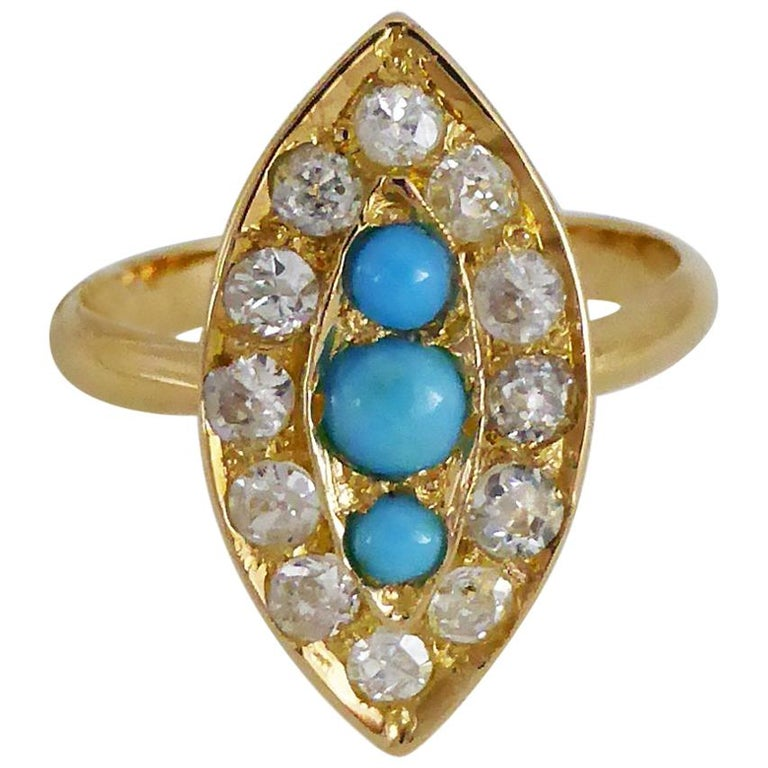 Navette Turquoise Diamond Marquise Antique Ring For Sale