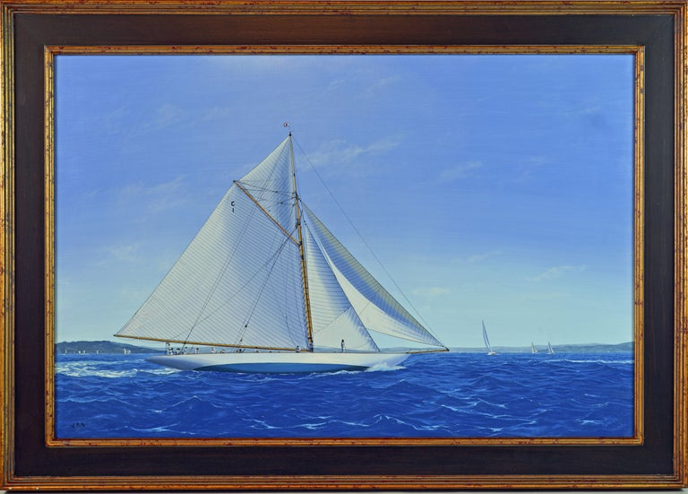 'Navigating the Med' By James Miller, British b. 1962. 24 x 36 in. with out frame, 30 x 42 in. including frame. Oil on canvas, signed lower left. Titled on the back. Housed in a gilt and wood finish gallery frame.  James Miller: James Miller