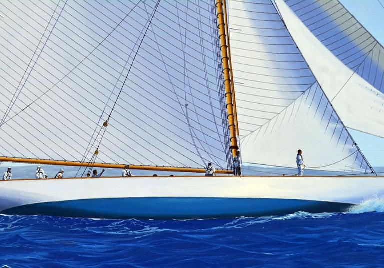 Canvas 'Navigating the Med' Large Detailed Seascape by James Miller, British For Sale