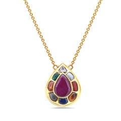 Navratna Necklace in 18 Karat Yellow Gold