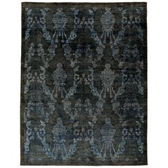 Navy and Blue Handwoven Wool Damask Rug
