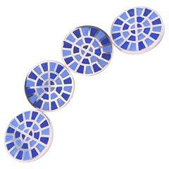 Berca Navy and Cornflower Blue Round Hand Enameled Sterling Silver Cufflinks