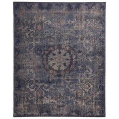 Navy and Smoke Blue Wool Rug from the Homage Collection by Rug & Kilim