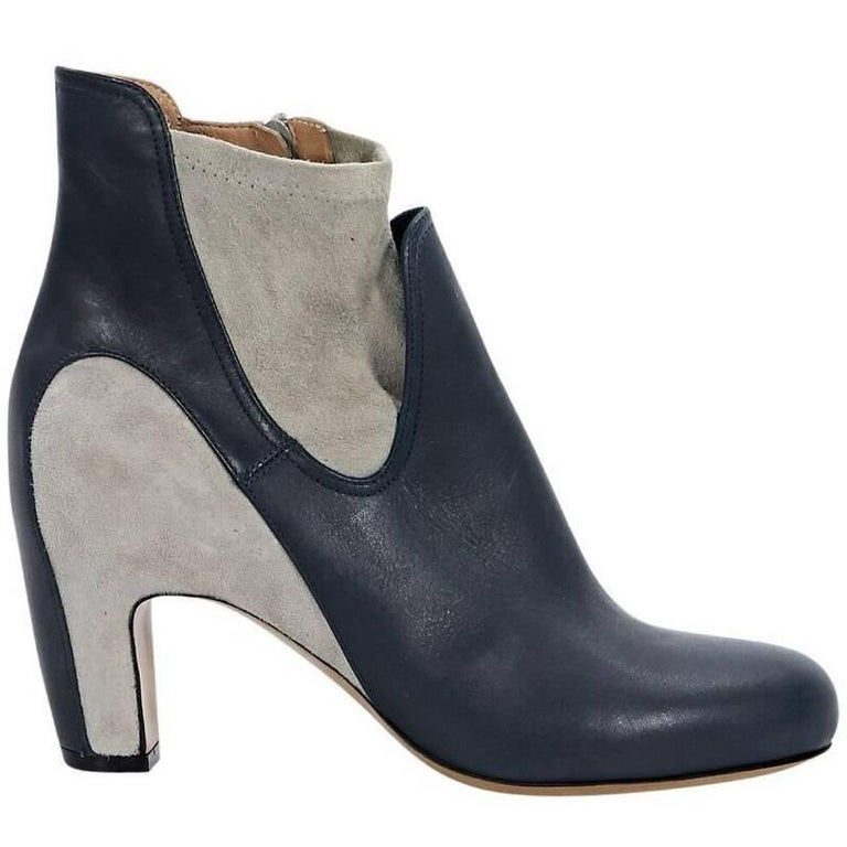 Navy Blue And Grey Maison Margiela Leather And Suede Ankle Boots For