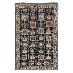 Navy Blue 1900 Antique Hand Knotted Persian Kurdish Rug Repetitive