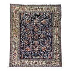 Navy Blue All Over Design 1900 Antique Persian Heriz Rug