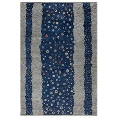 Navy Blue and Gray Flen Swedish Inspired Wool Pile Rug