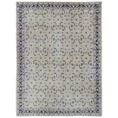Navy Blue and Ivory All over Design Vintage Turkish Oushak Rug