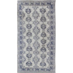 Navy Blue and Ivory Antique Turkish Oushak Rug with Vertical Geometric Design