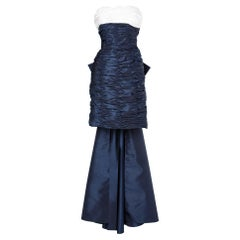 Navy blue and white 80's cocktail dress Victor Costa for Bergdorf Goodman