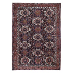 Navy Blue Antique Persian Karajeh Even Wear Pure Wool Hand Knotted Oriental Rug