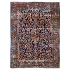 """Navy Blue Antique Persian Sarouk, Exc Cond, Hand Knotted Oriental Rug, 6'3""""x8'4"""""""