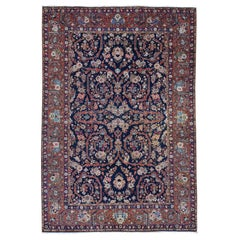 Navy Blue Antique Persian Tabriz Pure Wool Some Wear Hand Knotted Oriental Rug