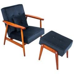 Navy Blue Armchair with Footrest, Poland, 1960s