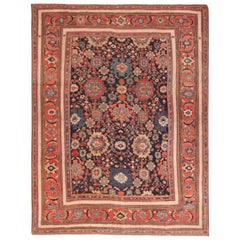 Navy Blue Background Antique Persian Sultanabad Rug.Size: 10 ft 8 in x 14 ft 2in