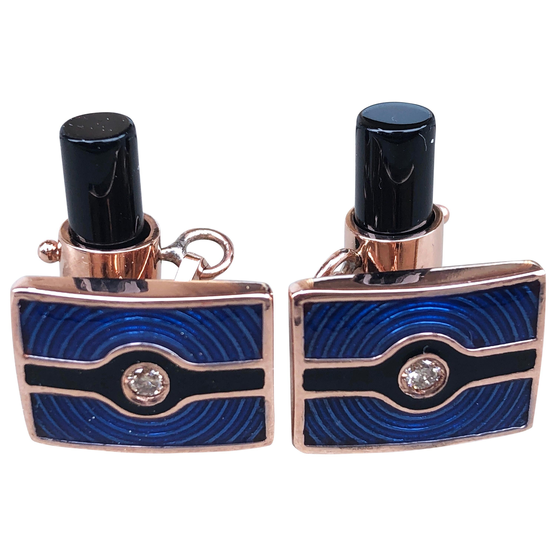 Berca Navy Blue Black Enameled White Diamond Rose Gold Onyx Baton Back Cufflinks