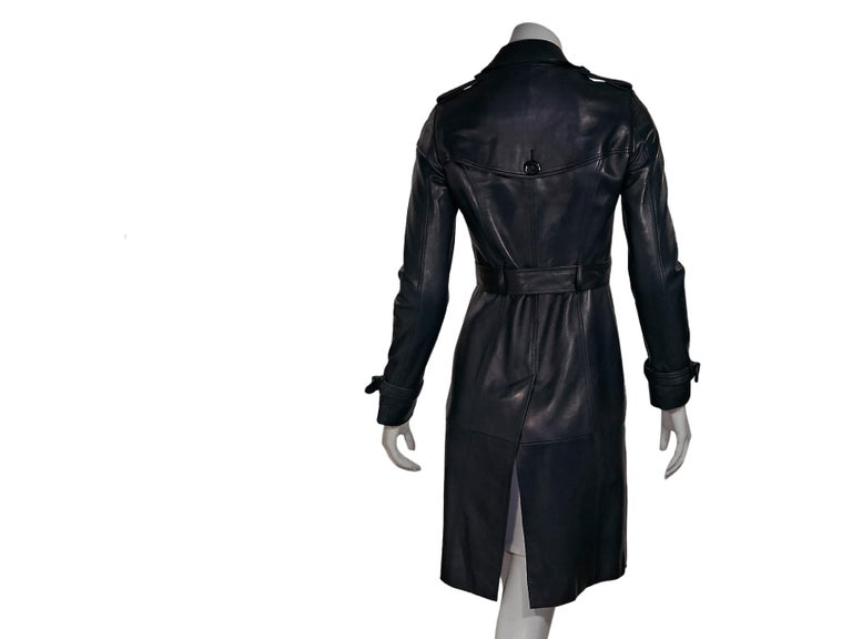 best selection of excellent quality luxury fashion Navy Blue Burberry Prorsum Leather Trench Coat