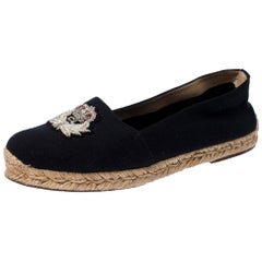 Navy Blue Canvas Gala Embroidered Crest Espadrille Loafers Size 39