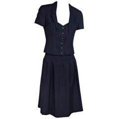 Chanel Navy Blue Skirt Suit Set