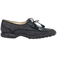 Navy Blue Chanel Denim Loafers