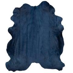 Navy Blue Contemporary Cow Hide Hair Rug