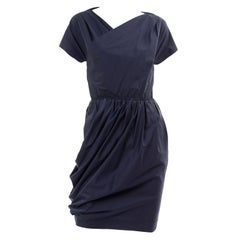 Navy Blue Cotton Carven Dress With Ruching Pockets & Open Back