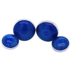 Berca Navy Blue Guilloché Hand Enameled Sterling Silver Cufflinks