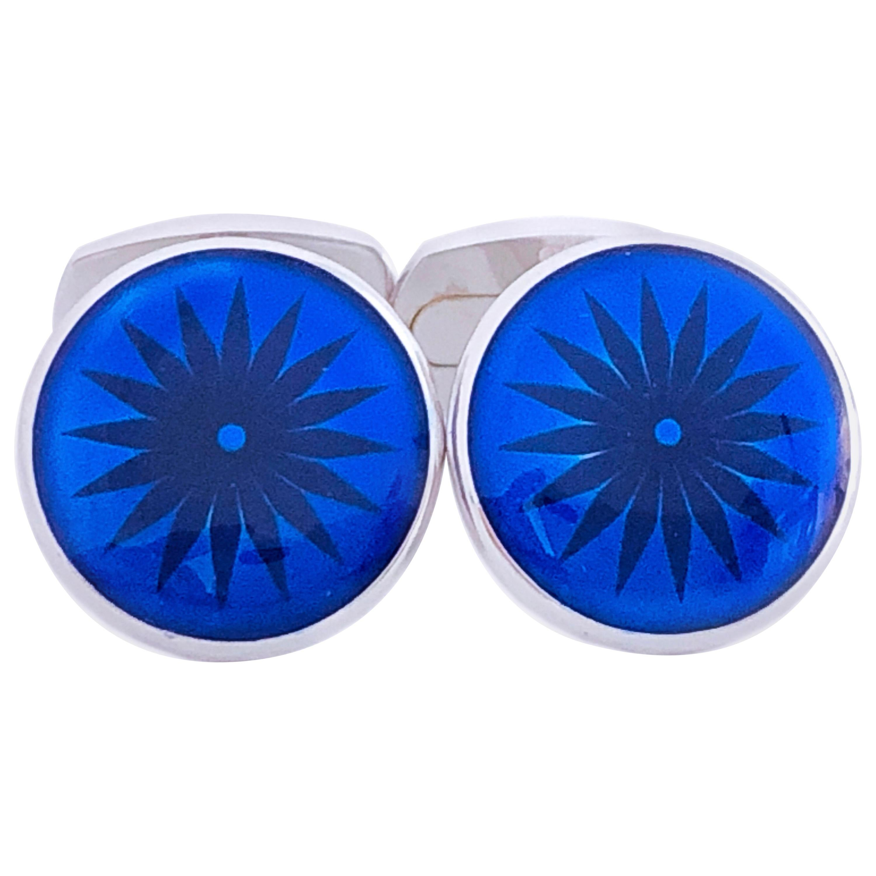 Berca Navy Blue Hand Champlevé Enameled Round Sterling Silver Cufflinks
