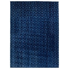 Navy Blue Handcrafted Pashmina Euro Rug