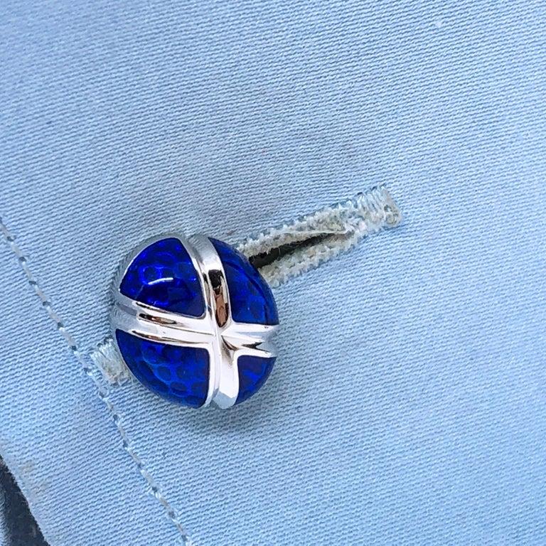 Men's Navy Blue Hand Enameled Egg Shaped Sterling Silver Cufflinks For Sale
