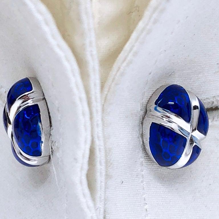 Navy Blue Hand Enameled Egg Shaped Sterling Silver Cufflinks For Sale 1