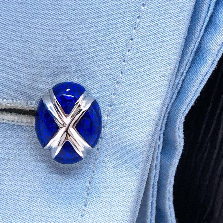 Navy Blue Hand Enameled Egg Shaped Sterling Silver Cufflinks For Sale 3