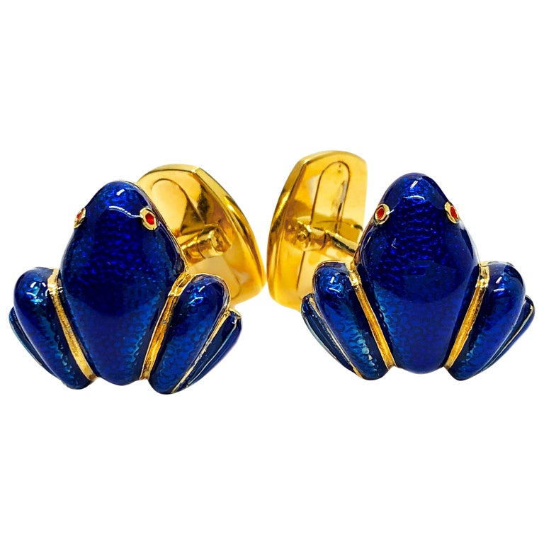 Navy Blue Hand Enameled Frog Shaped Sterling Silver Gold-Plated Cufflinks For Sale