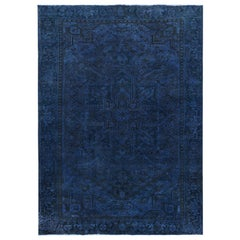 Navy Blue Hand Knotted Vintage Persian Heriz Sheared Low Pure Wool Rug