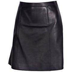 Hermes Navy Blue Leather Mini Skirt