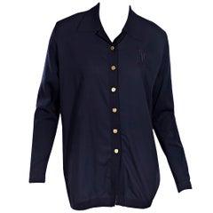 Navy Blue Hermes Wool Cardigan