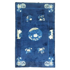 Navy Blue Ivory Traditional Chinese Peking Rug