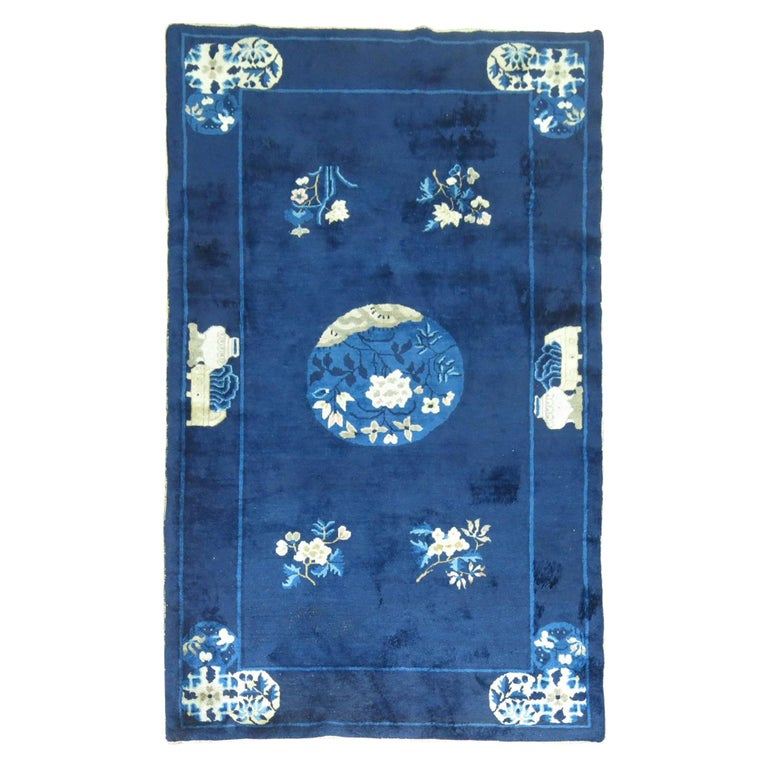 Navy Blue Ivory Traditional Chinese Peking Rug For Sale