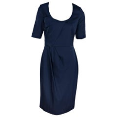 Navy Blue Lela Rose Pleated Dress