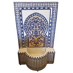 Navy Blue Moroccan Mosaic Fountain, Tree of Life