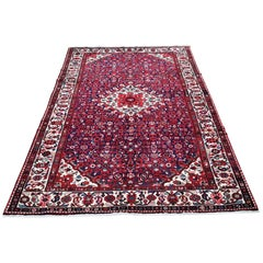 Navy Blue Persian Hamadan Pure Wool Hand Knotted Oriental Rug
