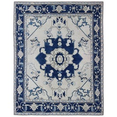 Navy Blue Oushak Vintage Rug with Traditional Medallion Design