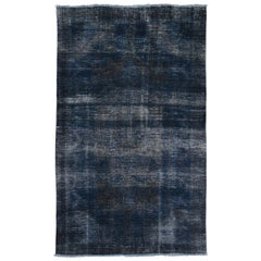 Navy Blue Overdyed Persian Worn Down Hand Knotted Oriental Rug
