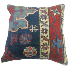 Navy Blue Persian Heriz Rug Pillow
