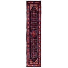 "Navy Blue Persian Nahavand Wide Runner Pure Wool Hand Knotted Oriental Rug, 3'6"""