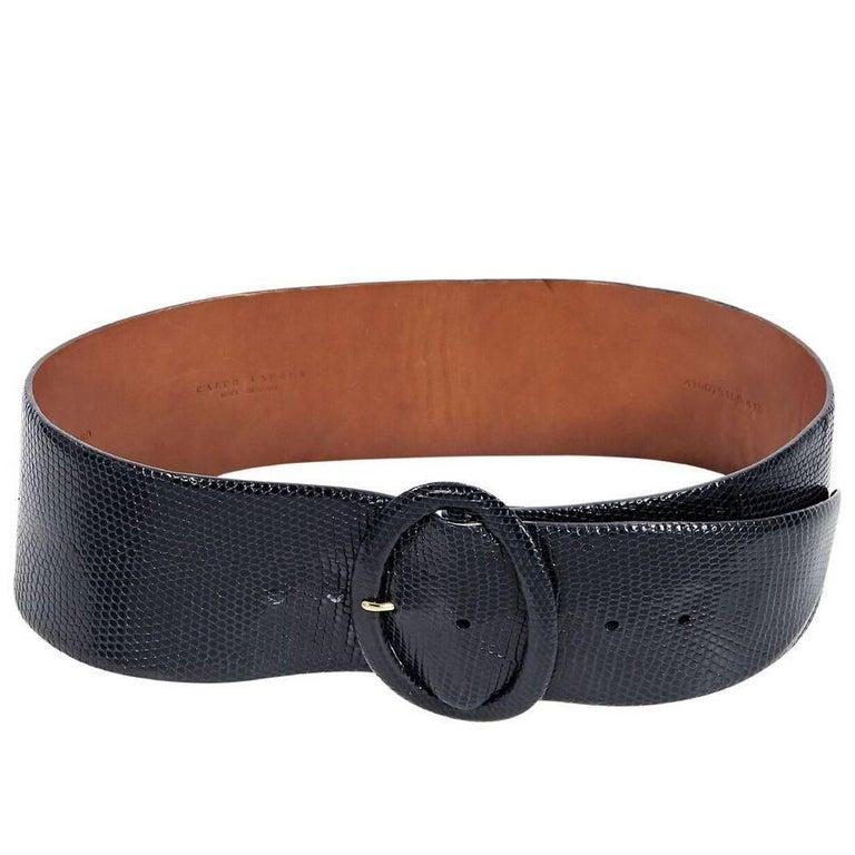 Navy Blue Ralph Lauren Wide Lizard Belt