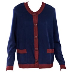 Navy Blue & Red Chanel Cashmere Cardigan