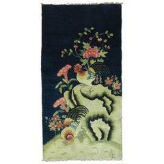 Navy Blue Rooster Tibetan Pictorial Rug