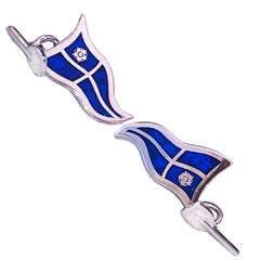 Navy Blue Sailing Flag Little Oar Back Sterling Silver Cufflinks